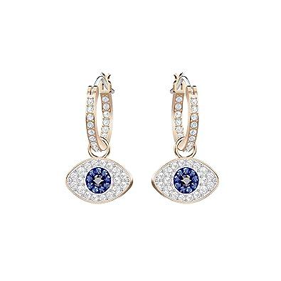 4700cf7ac Swarovski Duo Evil Eye Hoop Pierced Earrings, Multi-coloured, Rose gold  plating: Amazon.co.uk: Jewellery