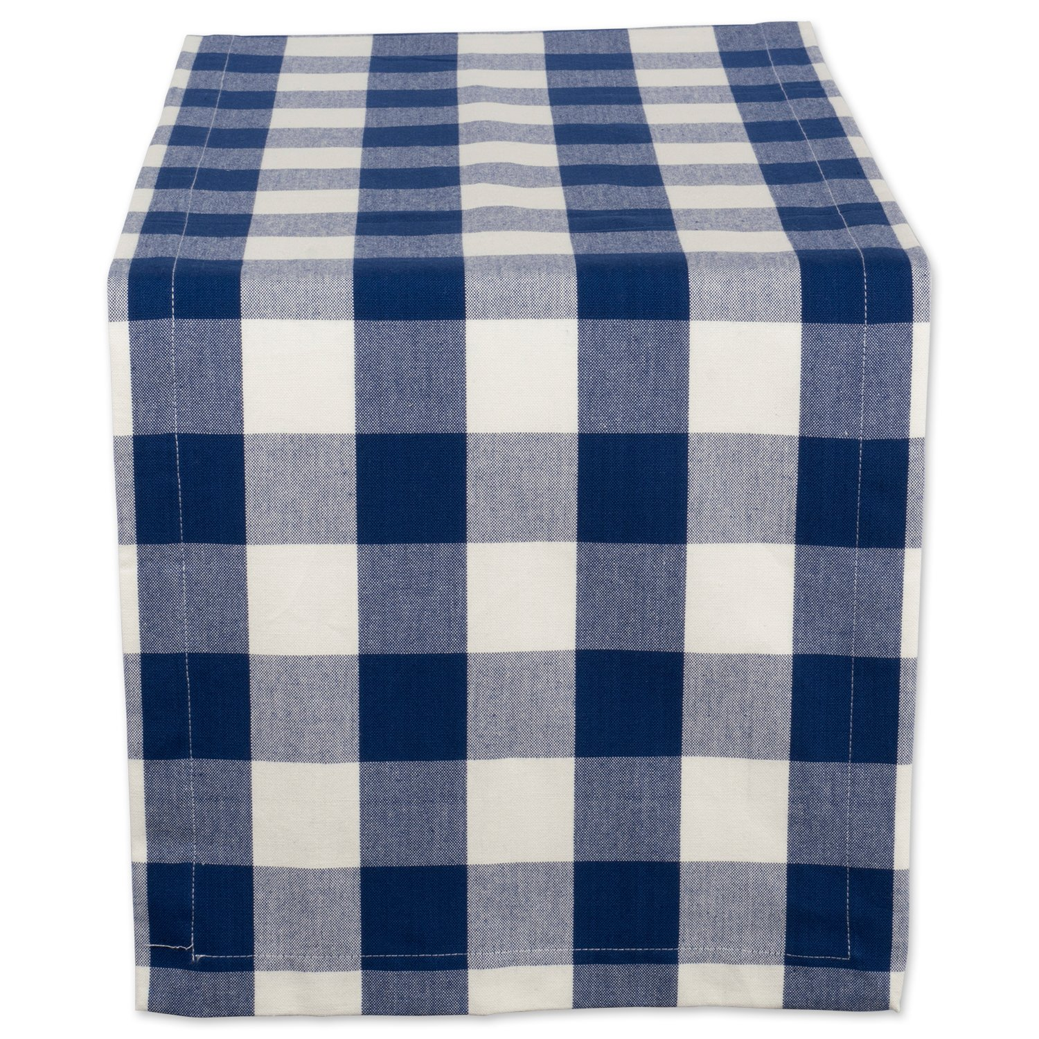 "DII Cotton Buffalo Check Table Runner for Family Dinners or Gatherings, Indoor or Outdoor Parties, & Everyday Use (14x72"",Seats 4-6 People), Navy & Cream"