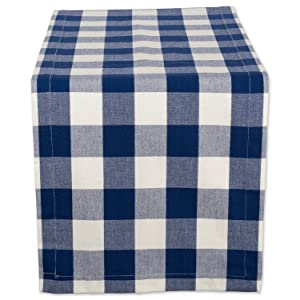 "DII Cotton Buffalo Check Table Runner for Family Dinners or Gatherings, Indoor or Outdoor Parties, & Everyday Use (14x108"",Seats 8-10 People), Navy & Cream"