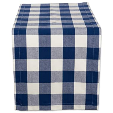 DII Cotton Buffalo Check Table Runner for Family Dinners or Gatherings, Indoor or Outdoor Parties, & Everyday Use (14x72 ,  Seats 4-6 People), Navy & Cream