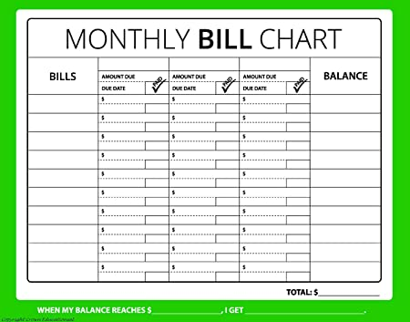 Amazon 16x12 Monthly Bill Chart Budget Expense Planner – Bill Organizer Chart