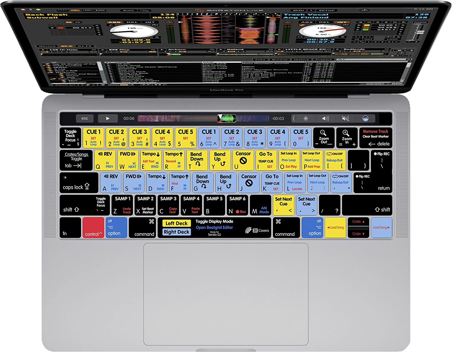 Late 2016+ KBCovers Keyboard Cover for Serato DJ//Scratch Live fits Apple MacBook Pro 13 /& 15 inch w//Touch Bar