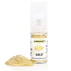 The Sugar Art - DiamonDust - Edible Glitter For Decorating Cakes, Cupcakes, Cake Pops, & More - Sprinkle on Sparkle and Luster to Sweets - Kosher, Food-Grade Coloring - Gold - 4g Spray Bottle