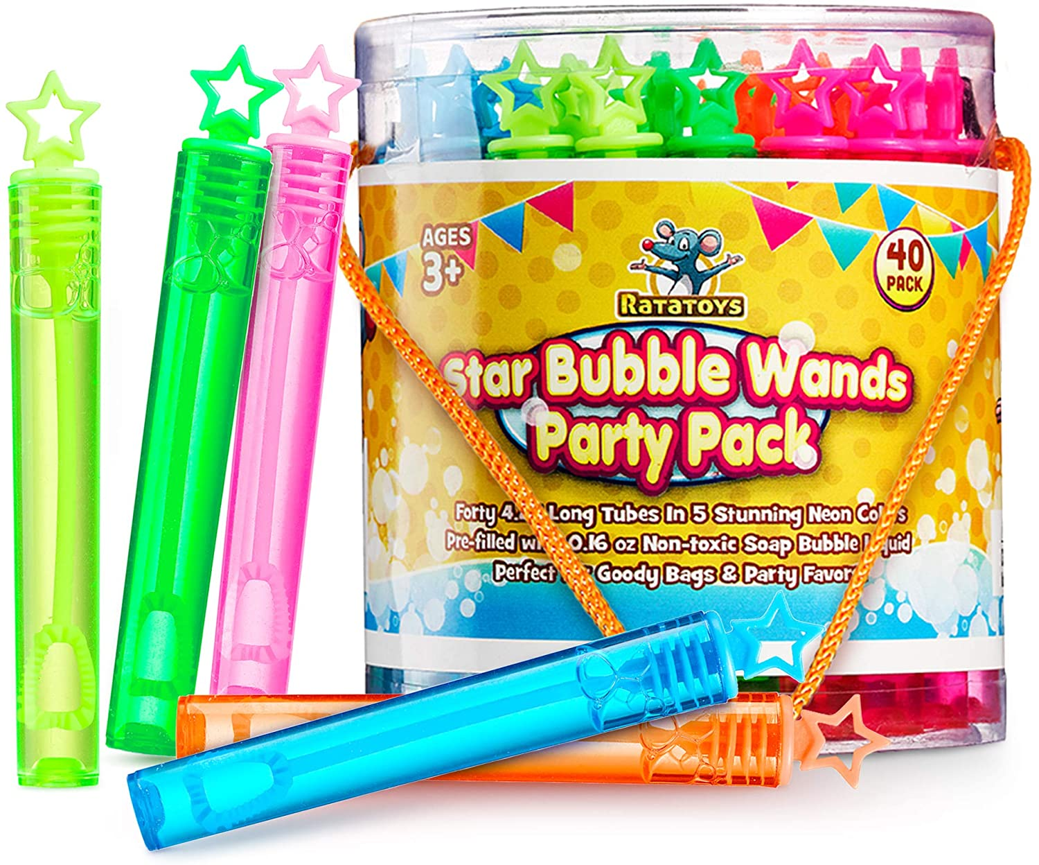 Star Bubble Wands Party Favors Pack Of 40 By Ratatoys: Fourty Mini Neon Bubble Wands | Odor-Free Non-Toxic Kids' Bath Toy/Birthday Treats Bubble Maker Toys for Kids | Outdoor Summer Events & Celebration Toy Gift