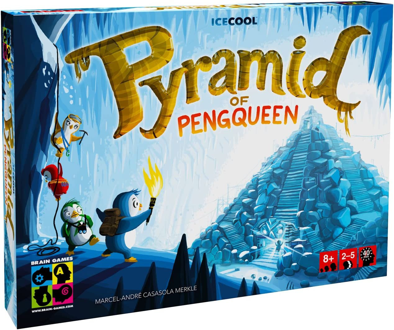 BRAIN GAMES Pyramid of Pengqueen 3D Board Game - A Thrilling Hide & Seek Game - Award Winning Strategy Game for Children, Families & Casual Gamers, Blue