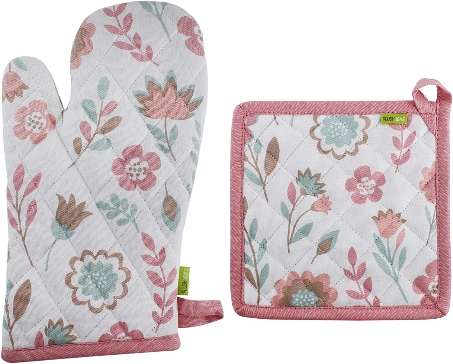 Plush Home 100% Cotton Eco-Friendly Pink Spring Fields Printed Pot Holder and Oven Mitt Set with Hanging Loop, Heat Resistant for Cooking, Baking, Grilling, Barbecue - Set of 1