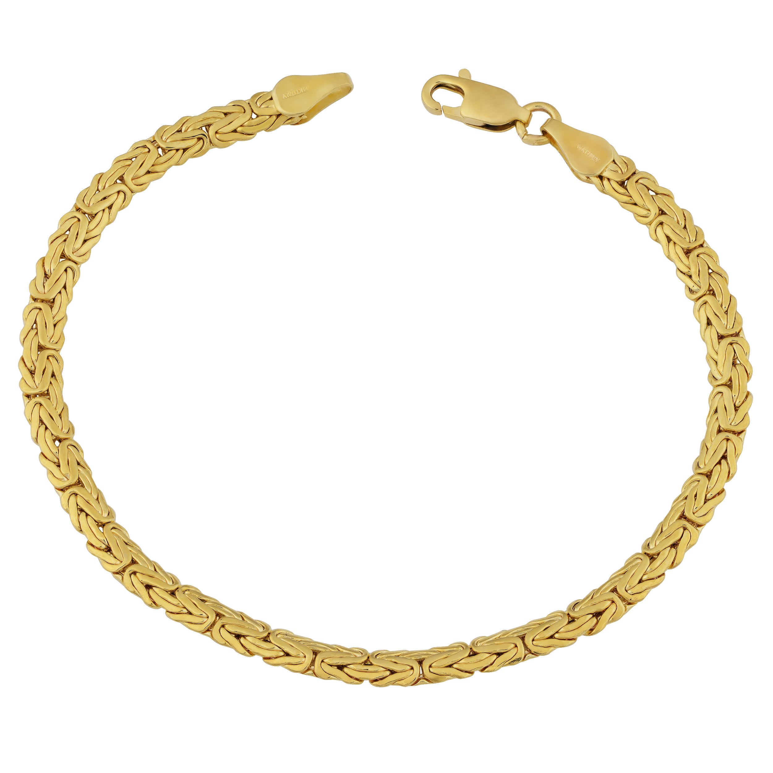 14k Yellow Gold 3.4-mm Byzantine Anklet (9 Inch)