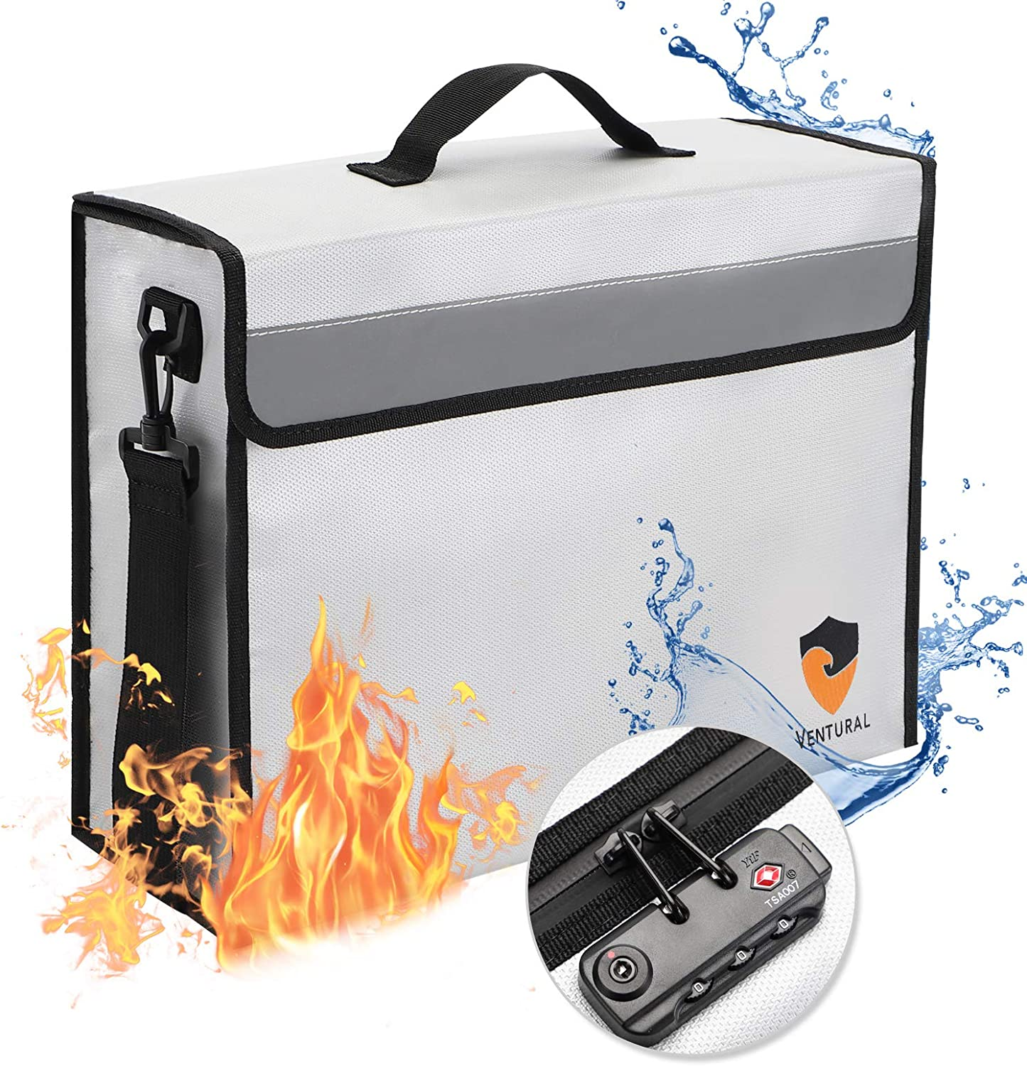 Firefrood Safe Money Document Bag with Lock Money Safety Box Fire Proof Containers for Important Ducuments Zipper Home Lockable Safes Storage