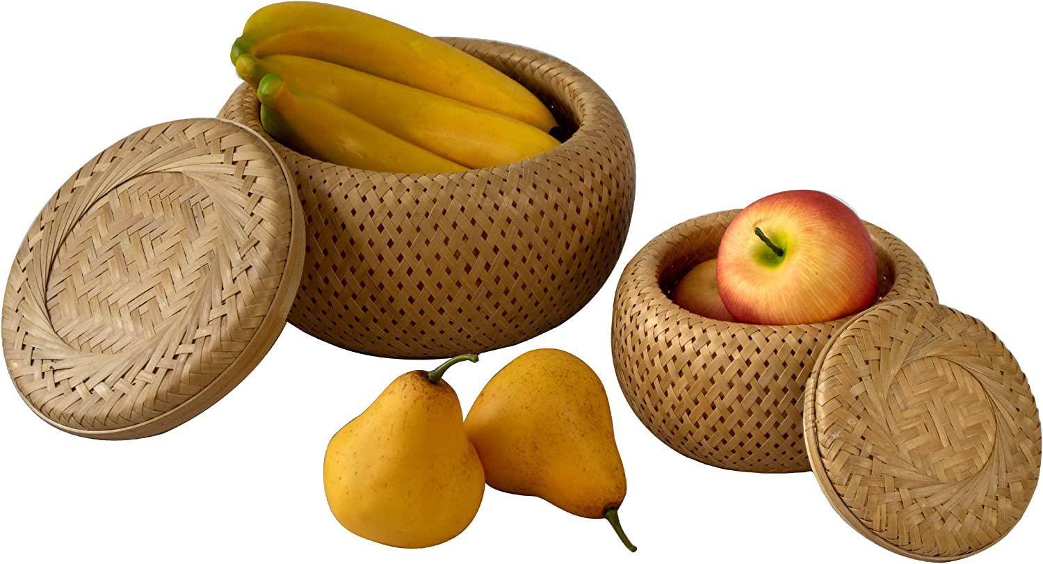 Bamboo Wicker Display Bowl - Hand Woven Shallow Fruit, Food, Bread Serving Basket | Rustic Key, Toy, Wallet, Entryway Table Storage Bowl| Circular Woven Decorative Straw Tray Basket (Set 2)