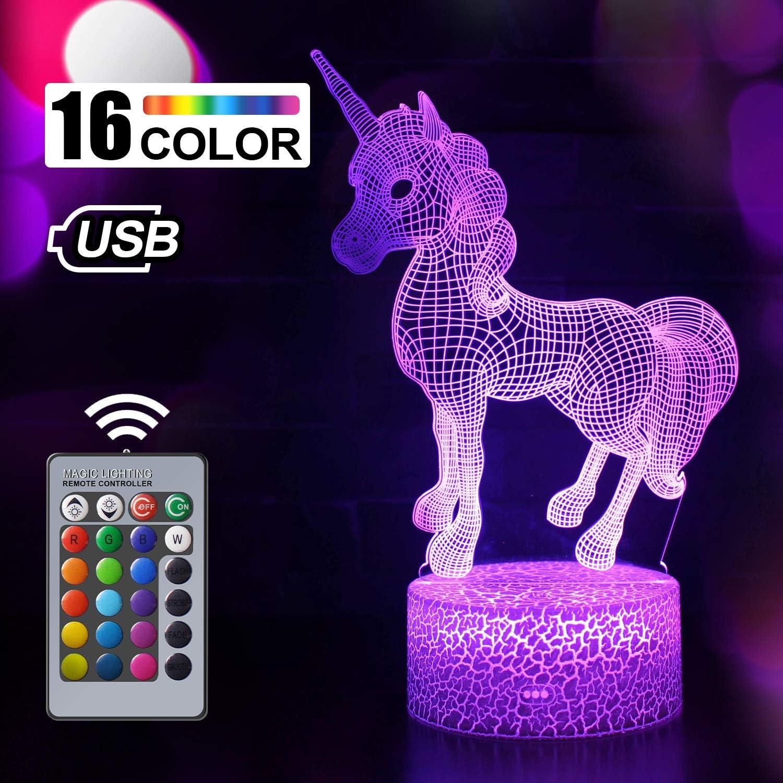 Regalo de Unicornio Luz de Noche para Ni/ños Ideas de Festivo y Regalos para Ni/ños Ni/ñas y Adultos unicornio1 L/ámpara de Luz 3D 7 Colores Cambian con Control Remoto