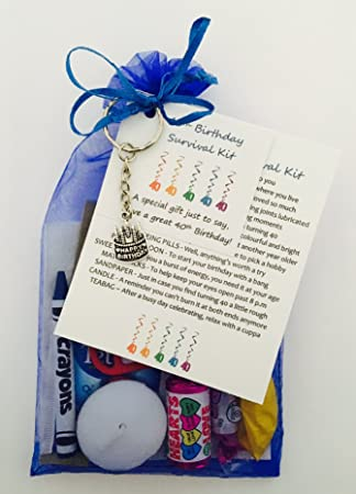 40th Birthday Survival Gift Kit Fun Happy Birthday Gift Present For