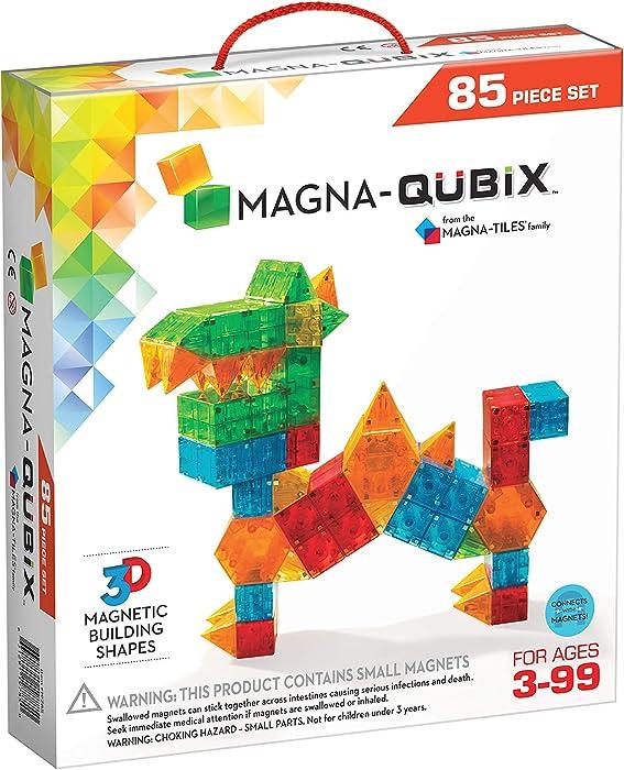 Magna-Qubix 85Piece Set: The Original, Award-Winning Magnetic 3D Building Shapes – Creativity & Educational – STEM Approved