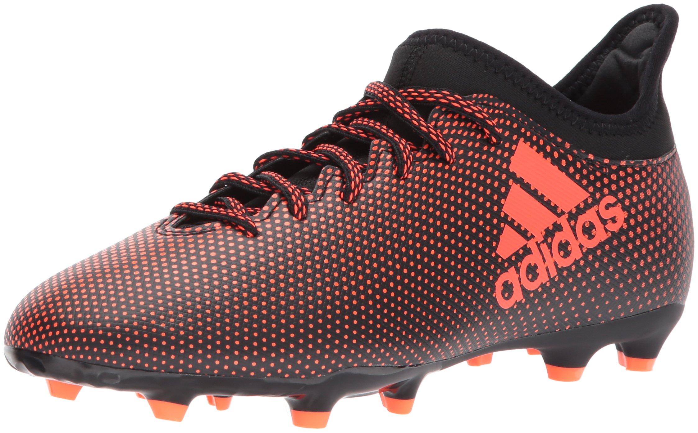 adidas Boys' X 17.3 FG J Soccer Shoe, Black/Solar Red/Solar Orange, 2 Medium US Little Kid