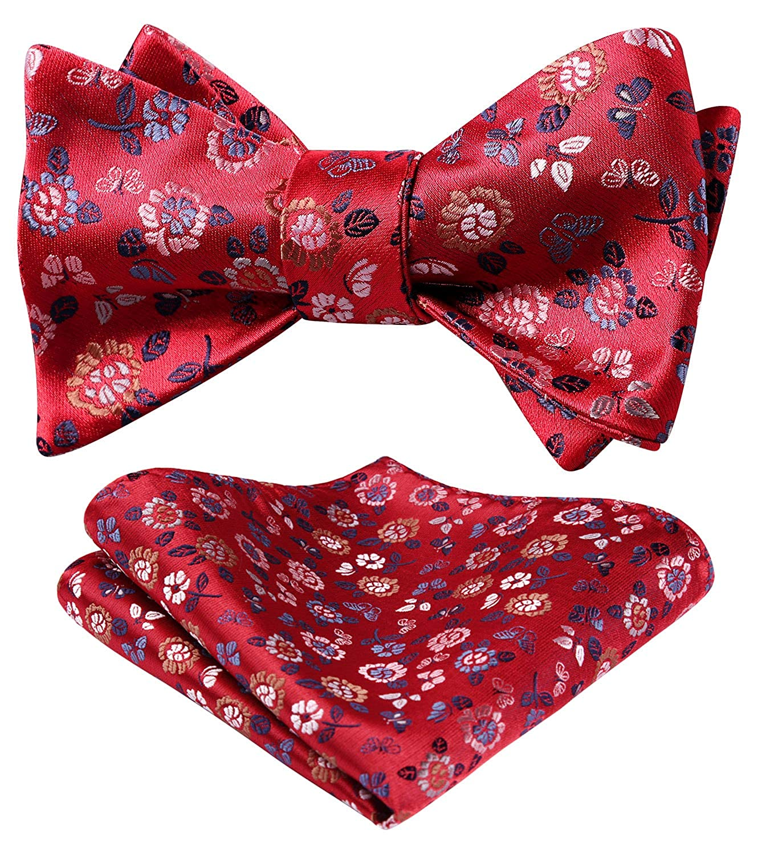 Cravatta a Farfalla e Set di Accessori per Fazzoletti per Feste di Matrimonio HISDERN Papillon da Uomo Floreale Paisley e Tasca Quadrata