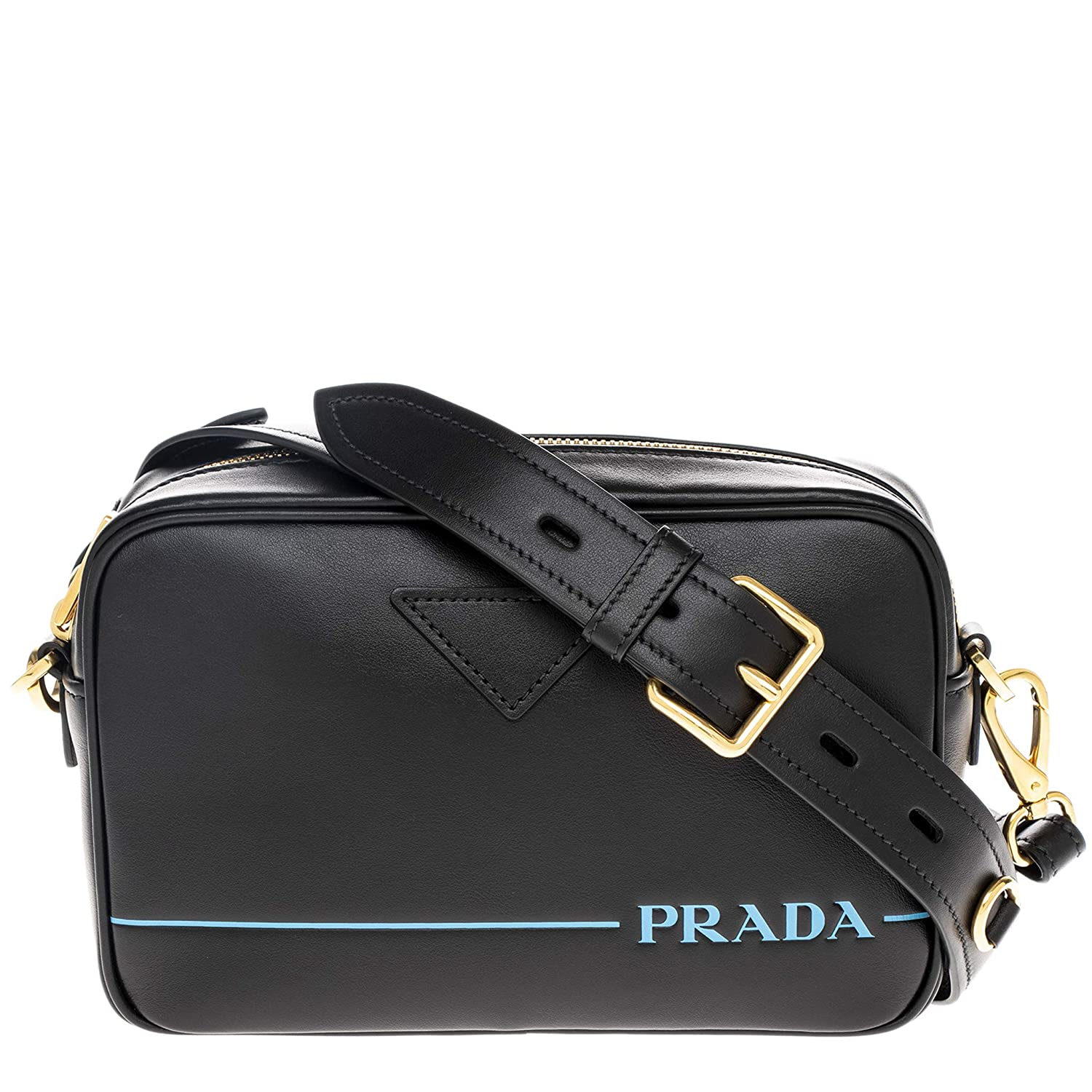 5b4021a7c270 Amazon.com  Prada Black Calf Leather Camera Bag with Embossed Light Blue  Accents  TheLuxuryClub