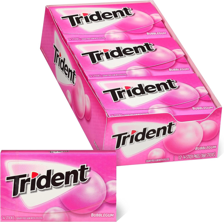 Bubblegum Sugar Free Gum, 12 Packs of 14 Pieces (168 Total Pieces)
