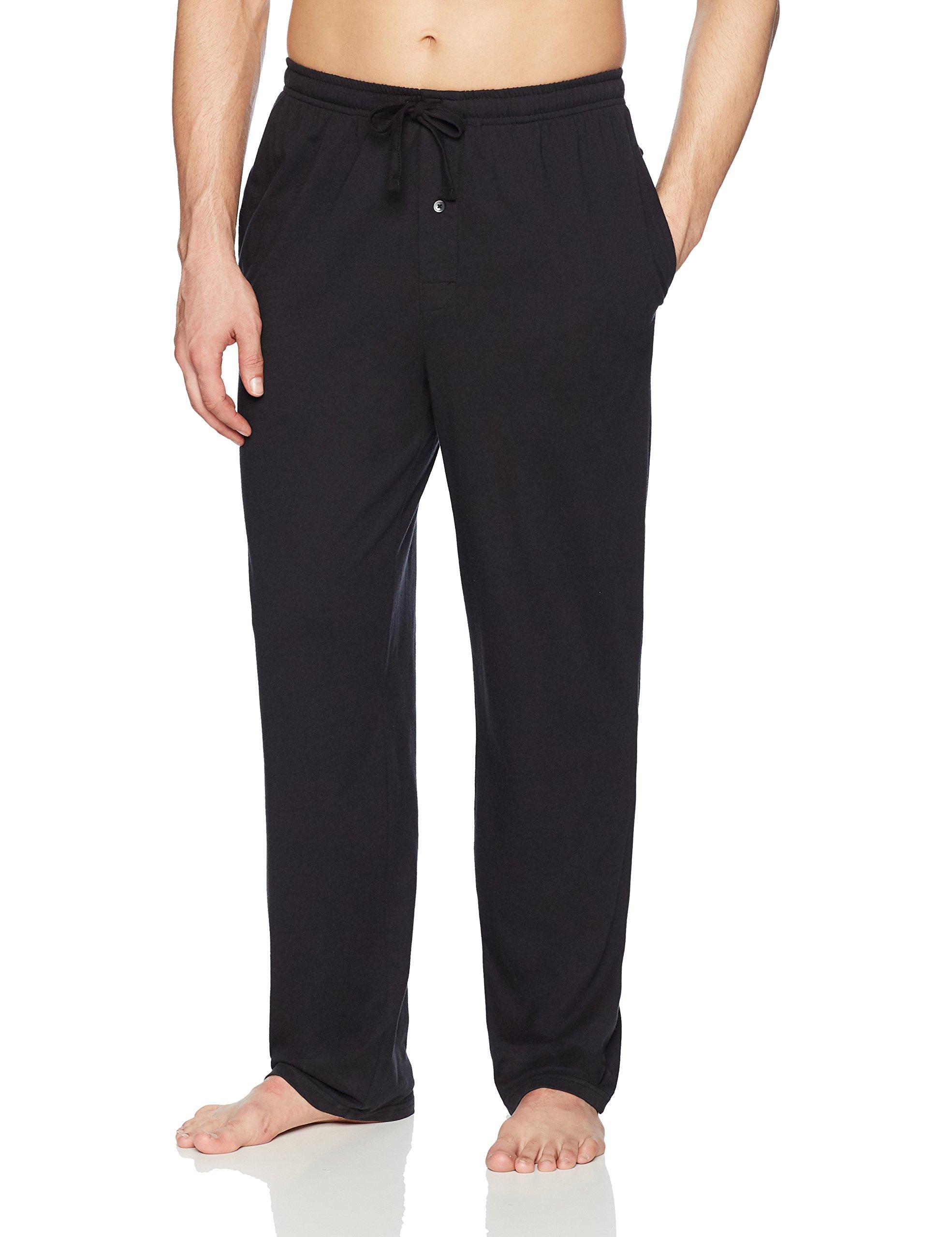 Amazon Essentials Men's Knit Pajama Pant, Black, Large