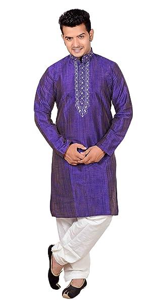 Para hombre indio Blend de seda Kurta salwar kameez pijama sherwani party 747 (S (
