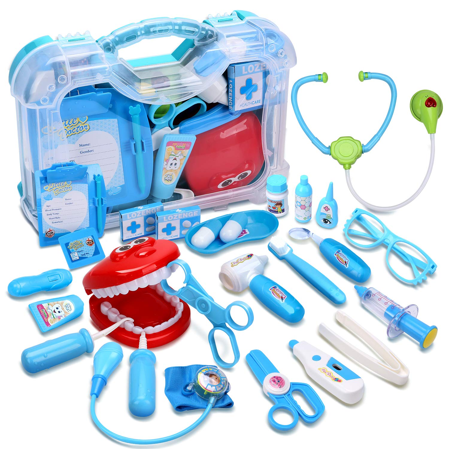 CUTE STONE Toy Medical Kit, 30PCS Kids Pretend Play Dentist Doctor Kit with Electronic Stethoscope Toy and Carrying Case, Role Play Educational Toy Doctor Playset for Toddler Boys Girls by CUTE STONE
