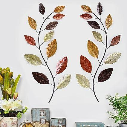Amazon.com: Asense Tree Leaf Metal Wall Art Sculptures Home Decor ...