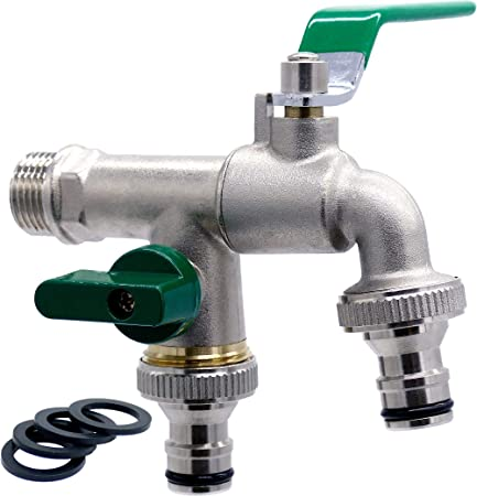 Haushalt Messing Doppel Wasserhahn mit Kugelauslaufventil und 1//2-Zoll-Anschluss