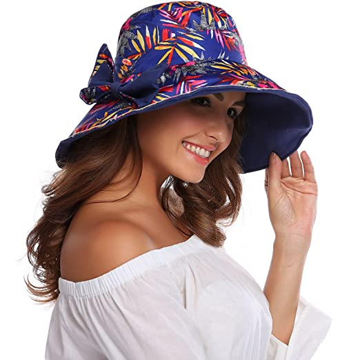 Women s Outdoor UPF 50+ Sun Hat Floppy Sun Beach Straw Hats Wide Brim ae8f6dda2e5
