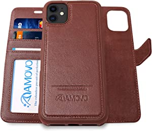AMOVO Leather Case for iPhone 11 (6.1'') [Genuine Leather] iPhone 11 Wallet Case Detachable [2 in 1 Folio] [Wristlet] iPhone 11 Folio Case (iPhone 11, Genuine Leather Brown)