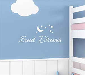 #2 Sweet Dreams Goodnight Moon Star Sleep Wall Art Quotes Sayings Vinyl Decals Home Inspirational Love Bible Sticker (White)