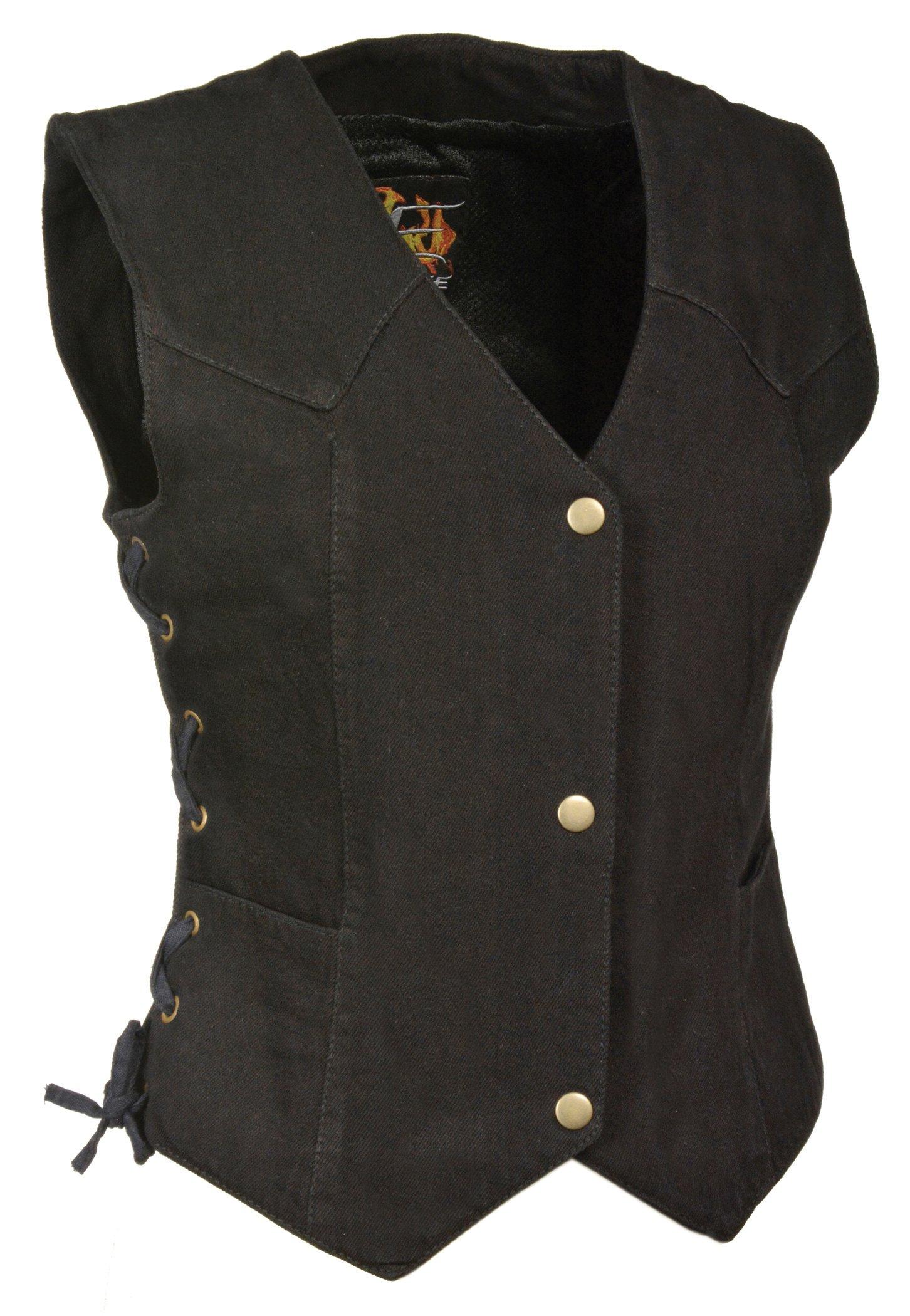 Milwaukee Performance Women's Denim 3 Front Snaps Vest (Black, X-Large) (14/12 OZ DEN)