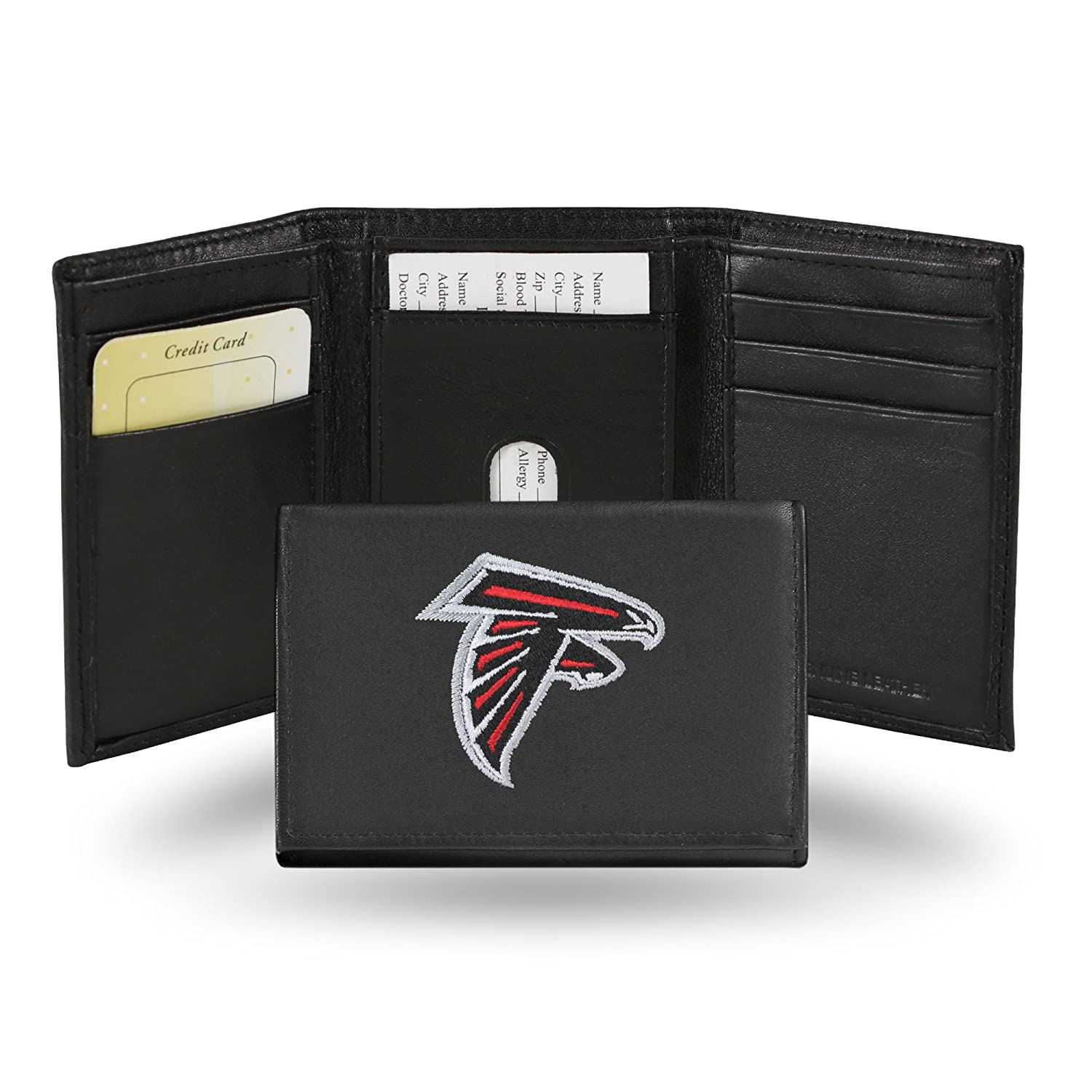Rico Industries NFL Atlanta Falcons Embroidered Leather Trifold Wallet