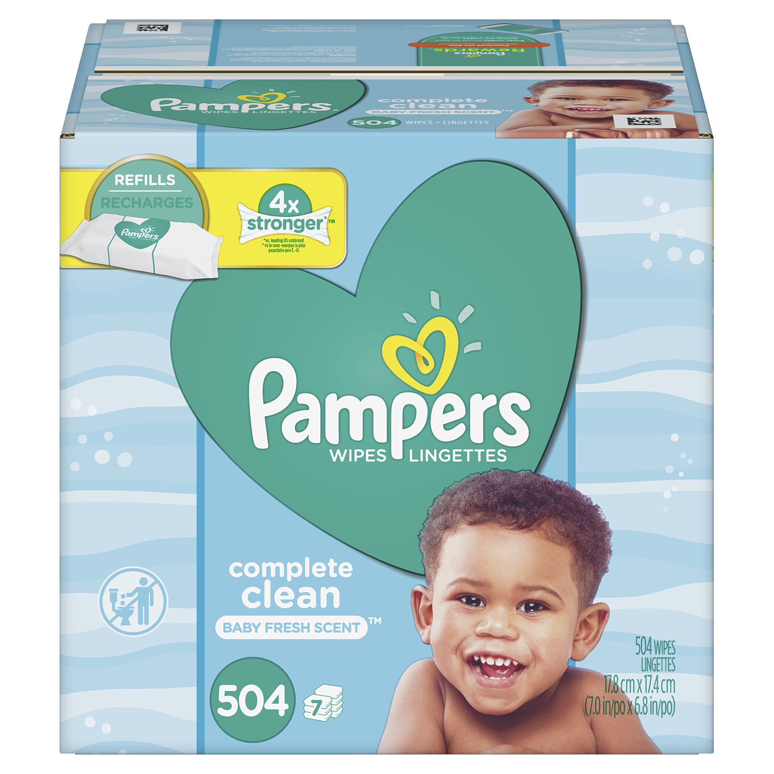 Baby Wipes, Pampers Sensitive Water Baby Diaper Wipes, Complete Clean Scented, 7 Refill Packs for Dispenser Tub, 504 Total Wipes by Pampers