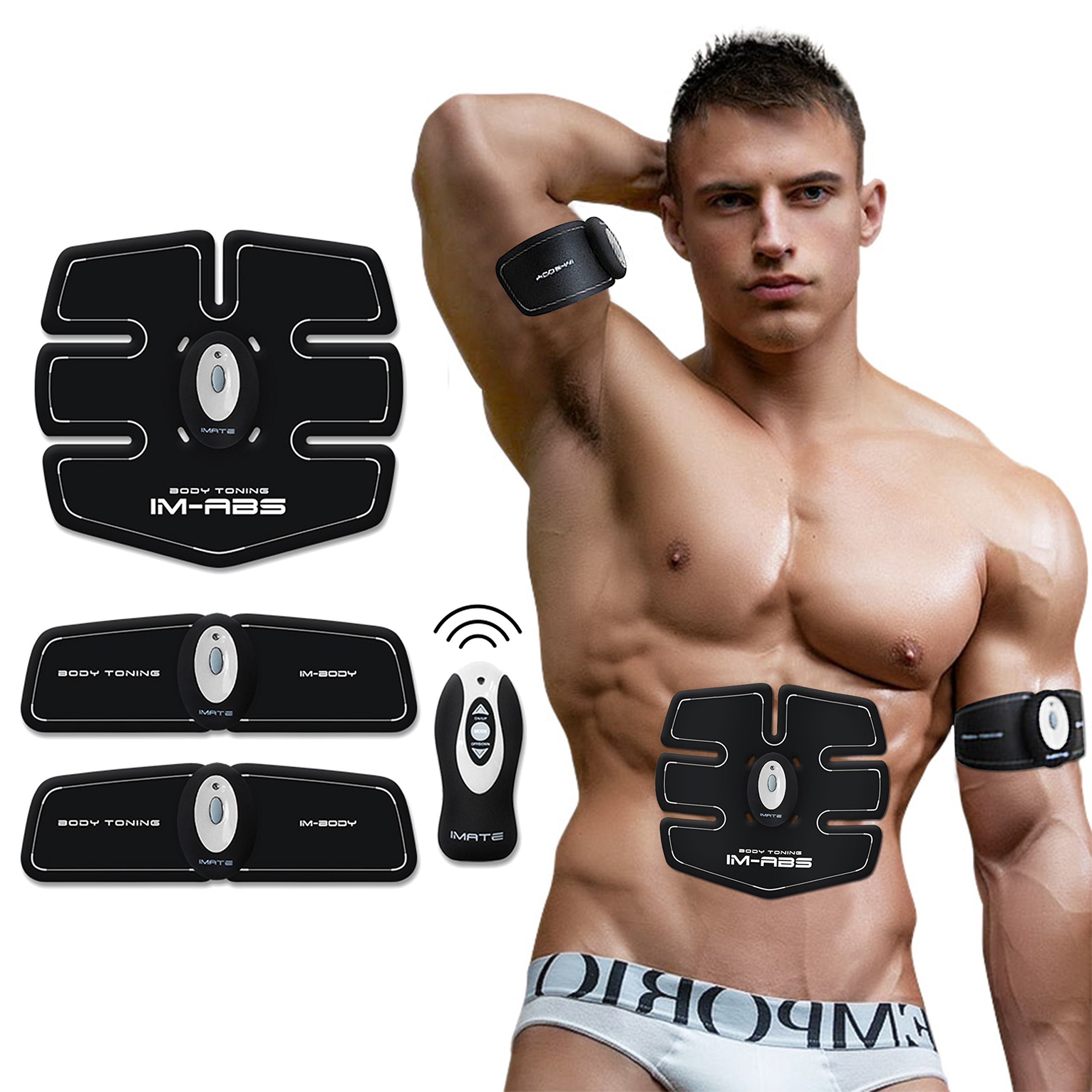 Cszlove Wireless ABS Toner Body Muscle Trainer Electronic Muscle Stimulation Fitness System ABS Fit Body Fit Arm Body Massager for Men - White