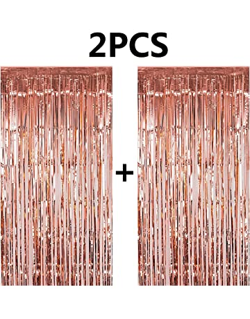 FECEDY 2pcs 3ft X 83ft Rose Gold Metallic Tinsel Foil Fringe Curtains Photo Booth Props