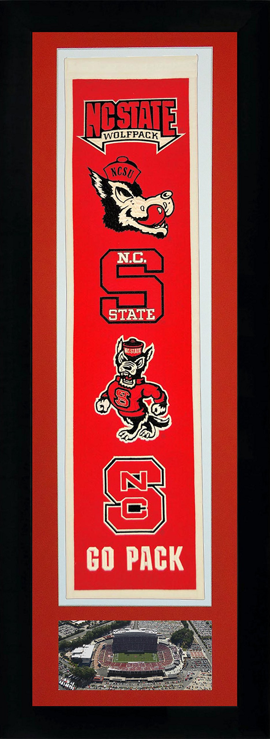 Legends Never Die NCAA North Carolina State Wolfpack Team Heritage Banner with Photo, Team Colors, 15'' x 42'' by Legends Never Die