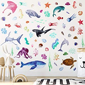 4 Sheets Watercolor Ocean Creatures Wall Stickers Colorful Sea Life Wall Stickers Under The Sea Fish Jellyfish Wall Decor Removable Ocean Themed Wall Decals for Kids Room Nursery Bedroom Playroom
