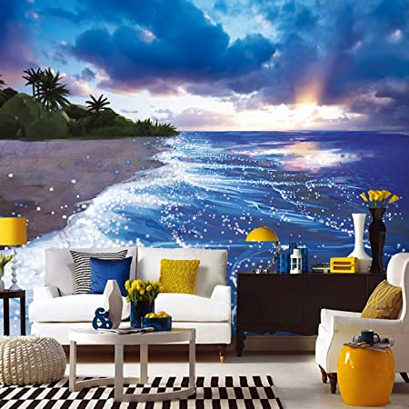 HUANGYAHUI European Style Large Fluorescent Sea Beach Sunset Scenery Wallpaper Living Room