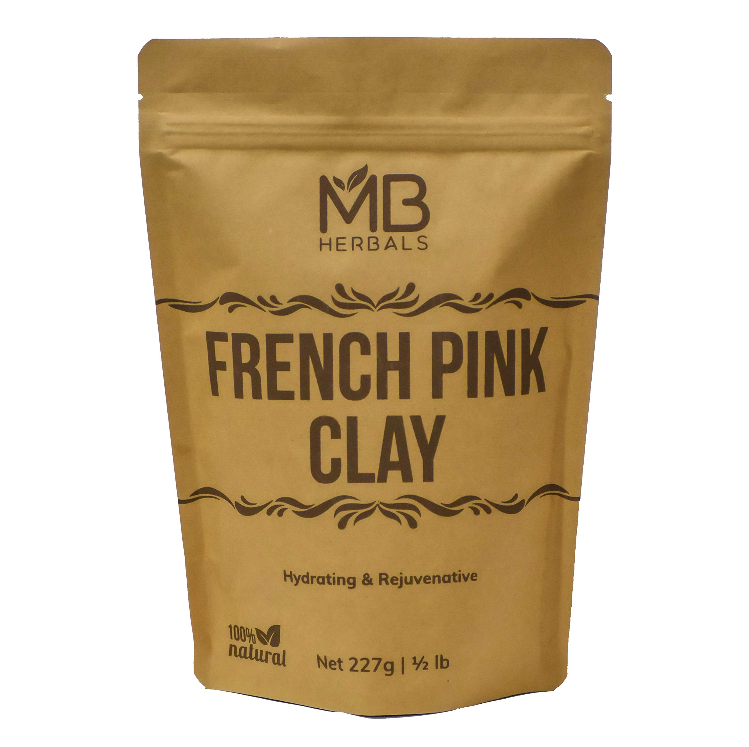 MB Herbals French Pink Clay 227g (Half Pound)   Montmorrillonite Pink Clay (French Rose Clay)   Mild, Hydrating Clay suitable for Sensitive, Matured & Acne-Prone Skin