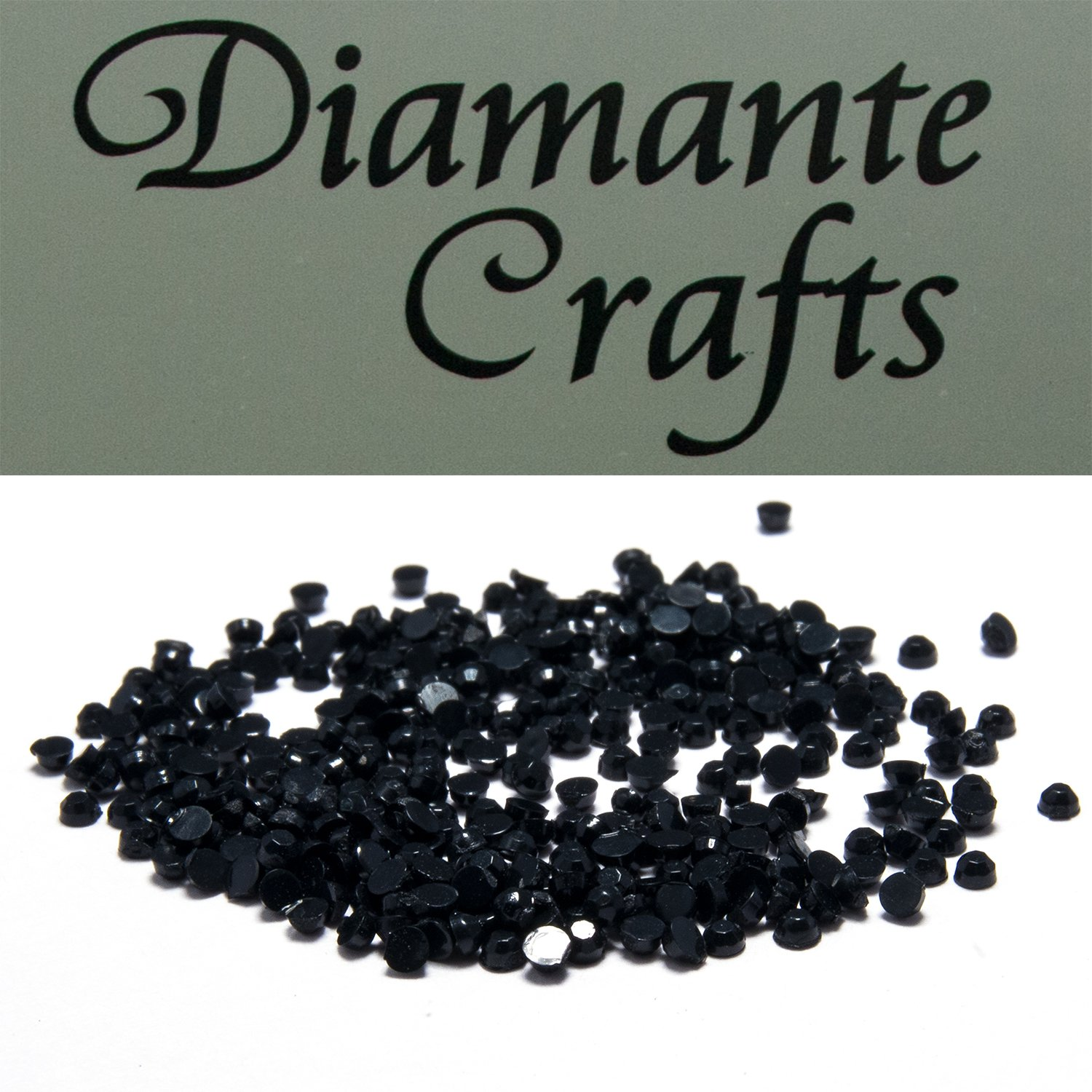 300 x 1mm Black Round Diamante Loose Flat Back Rhinestone Gems - created exclusively for Diamante Crafts
