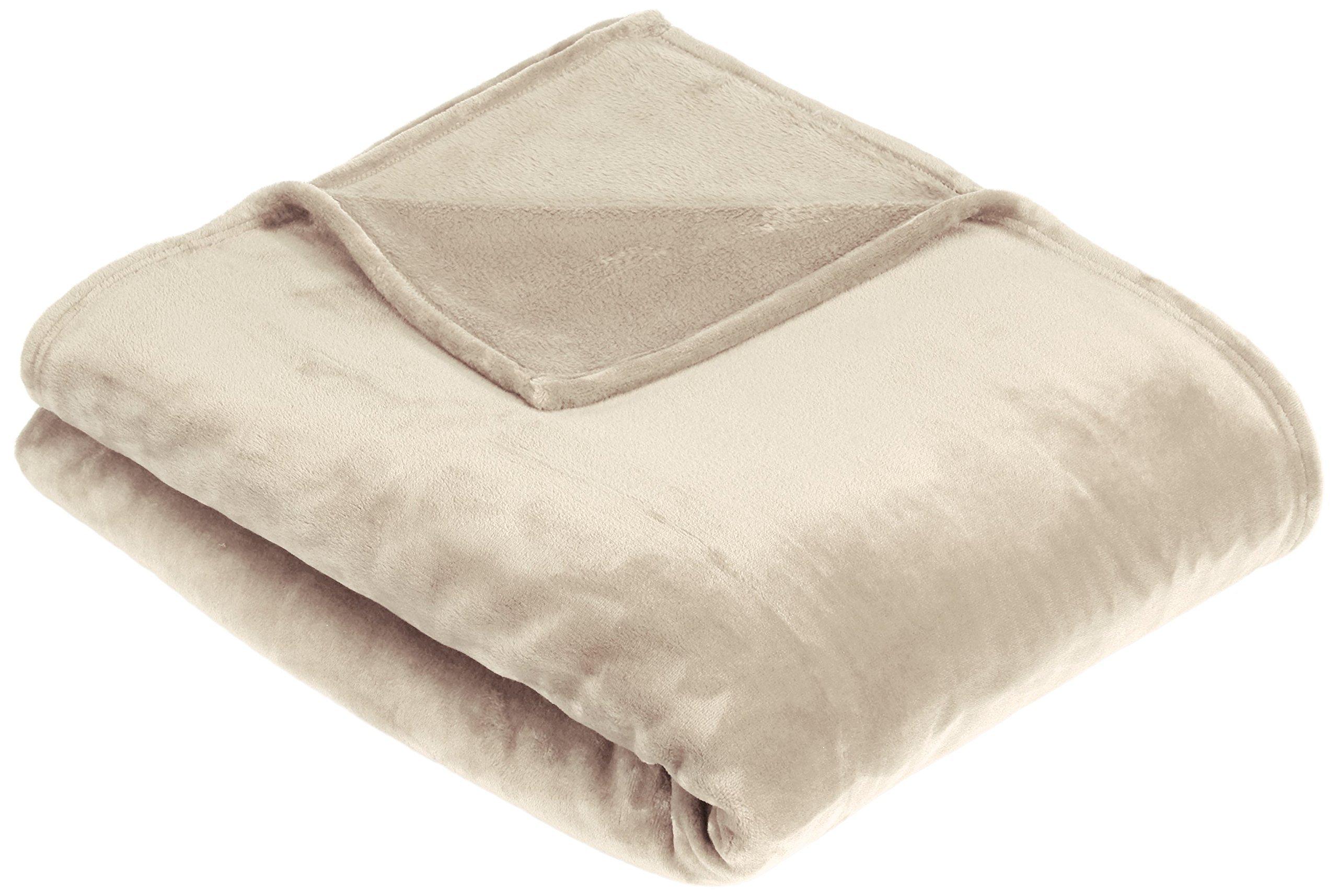 Pinzon Velvet Plush Throw Blanket, 50'' x 60'', Sand
