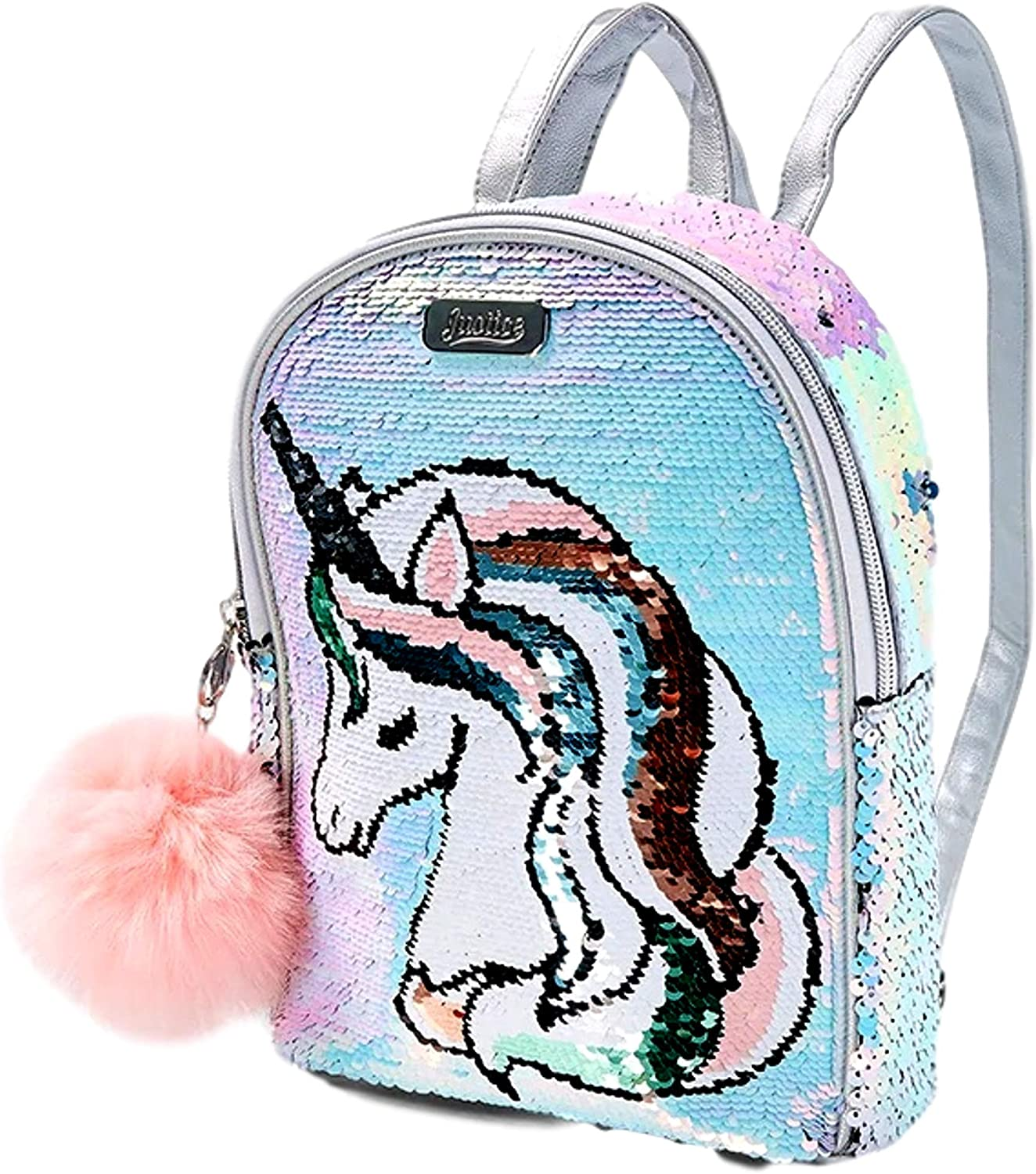 Justice Mini Backpack for Girls - Unicorn Small Backpack with Flip Sequin and Adjustable Straps - Cute Backpack Purse that Holds Wallet, Phone, Charger, Makeup Accessories, Camera, Water Bottle