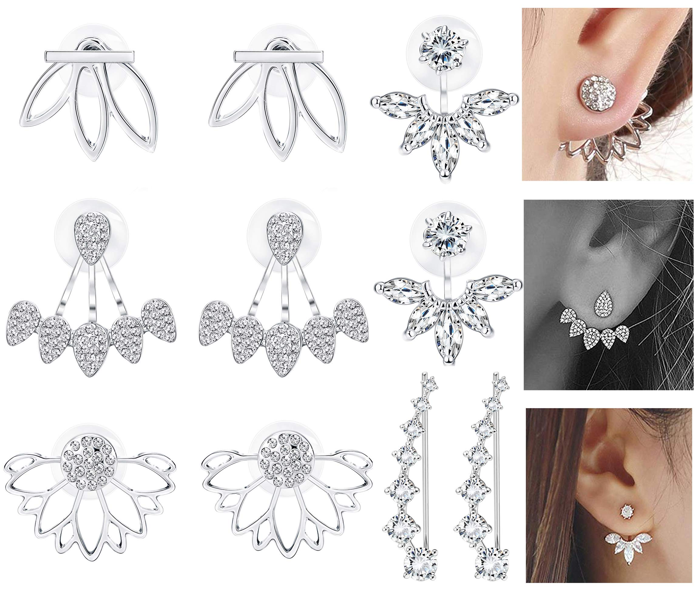 Milacolato 5 pairs Hollow Lotus Flower Ear Jackets For Women Girls Ear Stud Simple Chic Earrings Silver