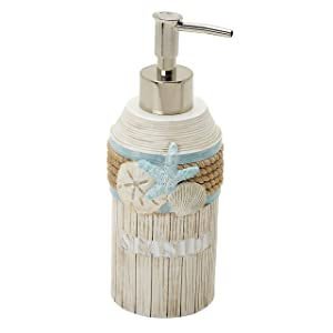 Zenna Home, India Ink Seaside Serenity Lotion or Soap Dispenser, Teal/Ivory