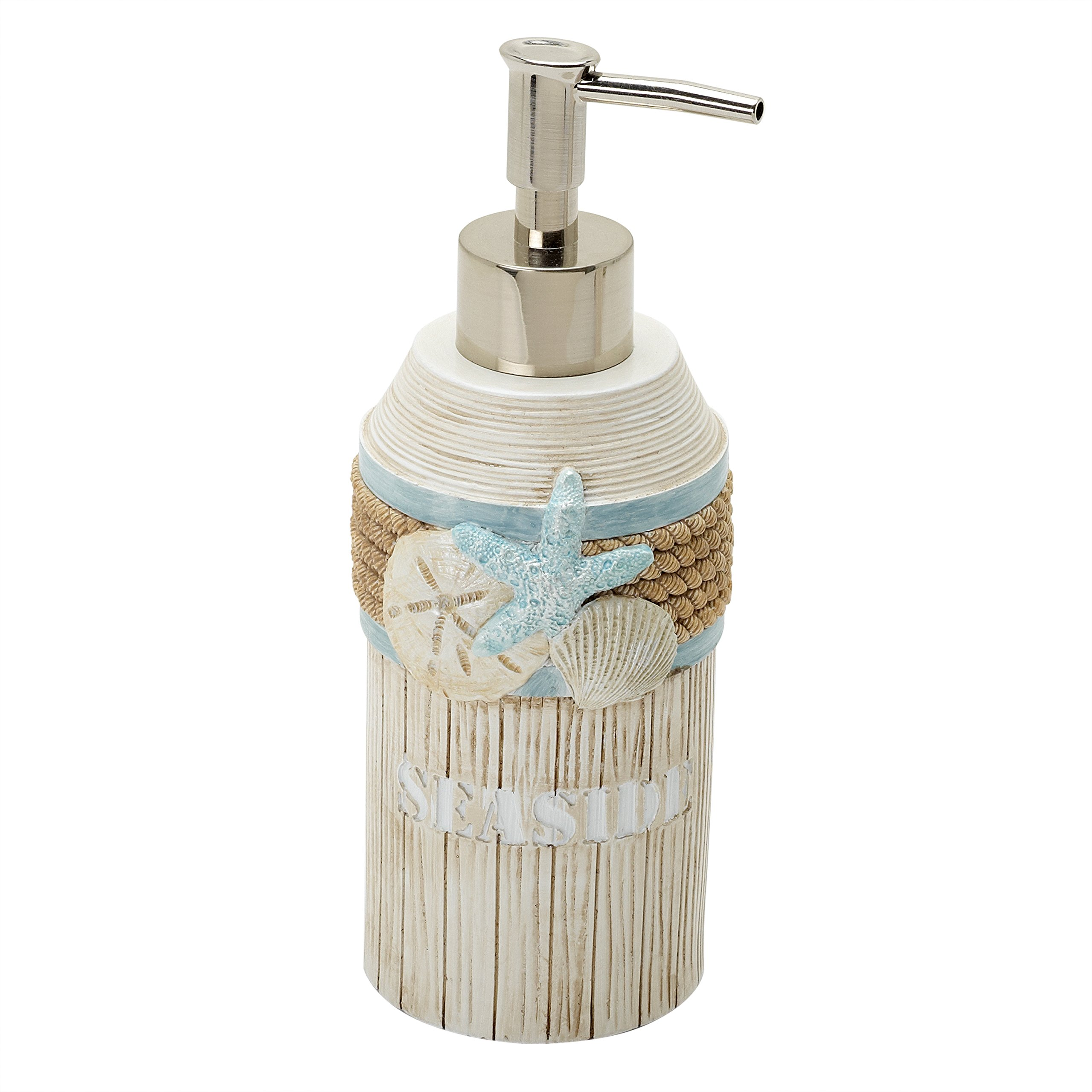 Zenna Home Seaside Serenity Liquid Hand Sanitizer, Soap or Lotion Dispenser, Coastal Beach Theme