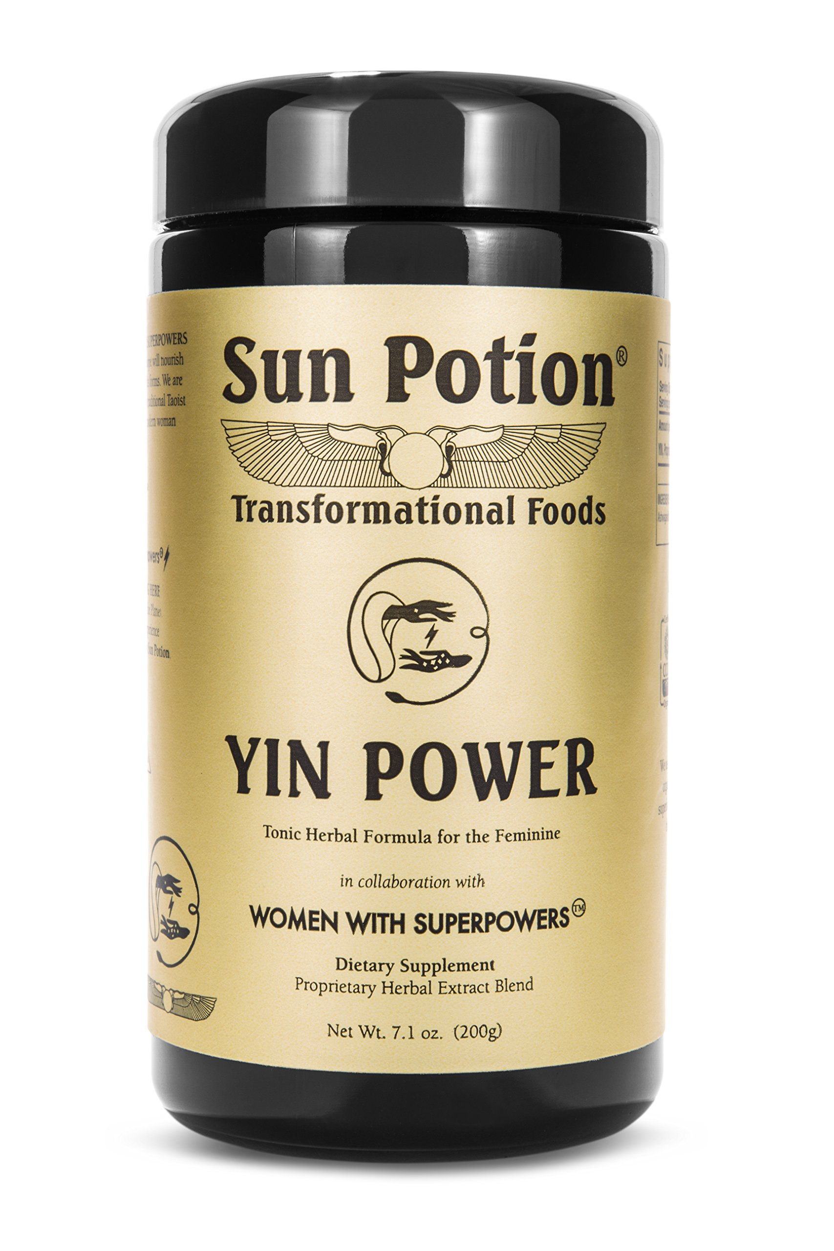 Yin Power by Sun Potion - Organic Herbal Adaptogenic Supplement and Superfood - Feminine Tonic Powder Formulated with Ashwagandha, Tocos, Reishi, He Shou Wu, Pearl Powder and More - 200g