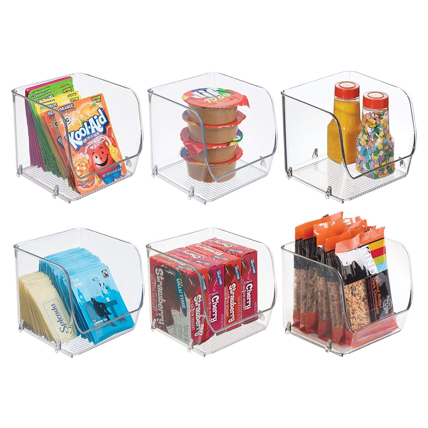 "Household Stackable Plastic Food Storage Organizer Bin Basket with Wide Open Front for Kitchen Cabinets, Pantry, Offices, Closets, Bedrooms, Bathrooms - Cube, Small - 4.5"" Wide, 6 Pack - Clear"