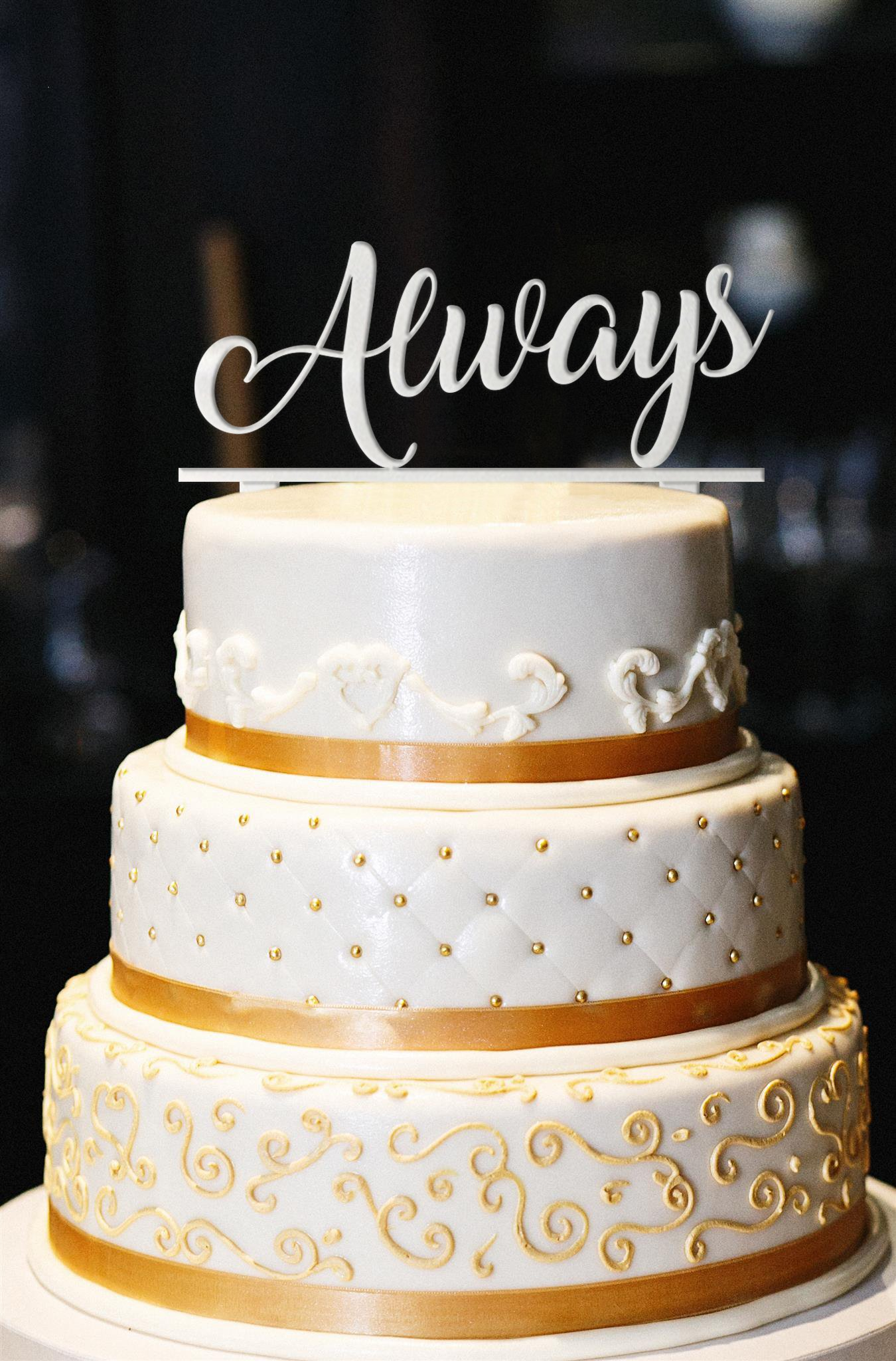 Always Wedding Cake Topper, Glitter Wedding Cake Topper, Engagement Cake Topper, Gold Cake Topper, Gold Glitter Cake Topper, Anniversary (13'', Pearl White)
