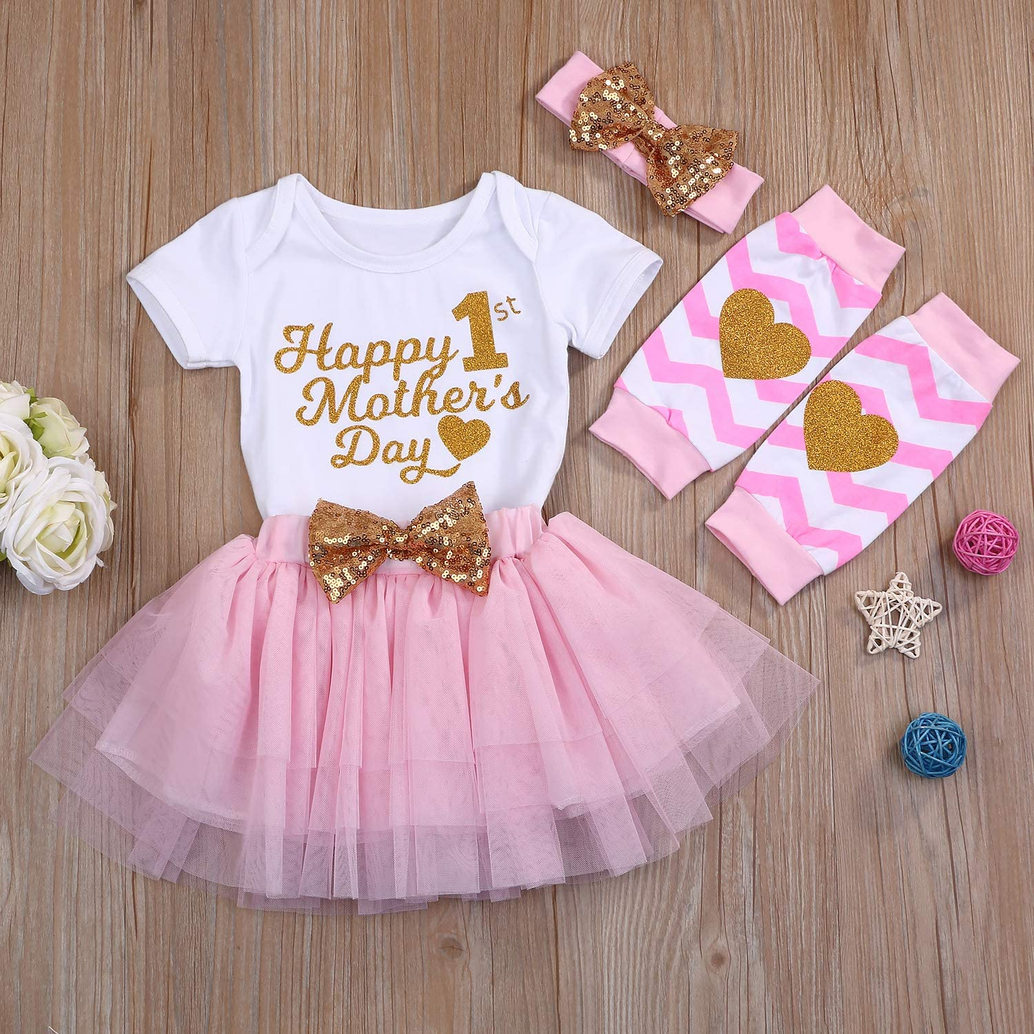Baby Girls Skirt Set Short Sleeve Romper+Bow Tutu Dress+Headband+Leg Warmers 4Pcs Outfits
