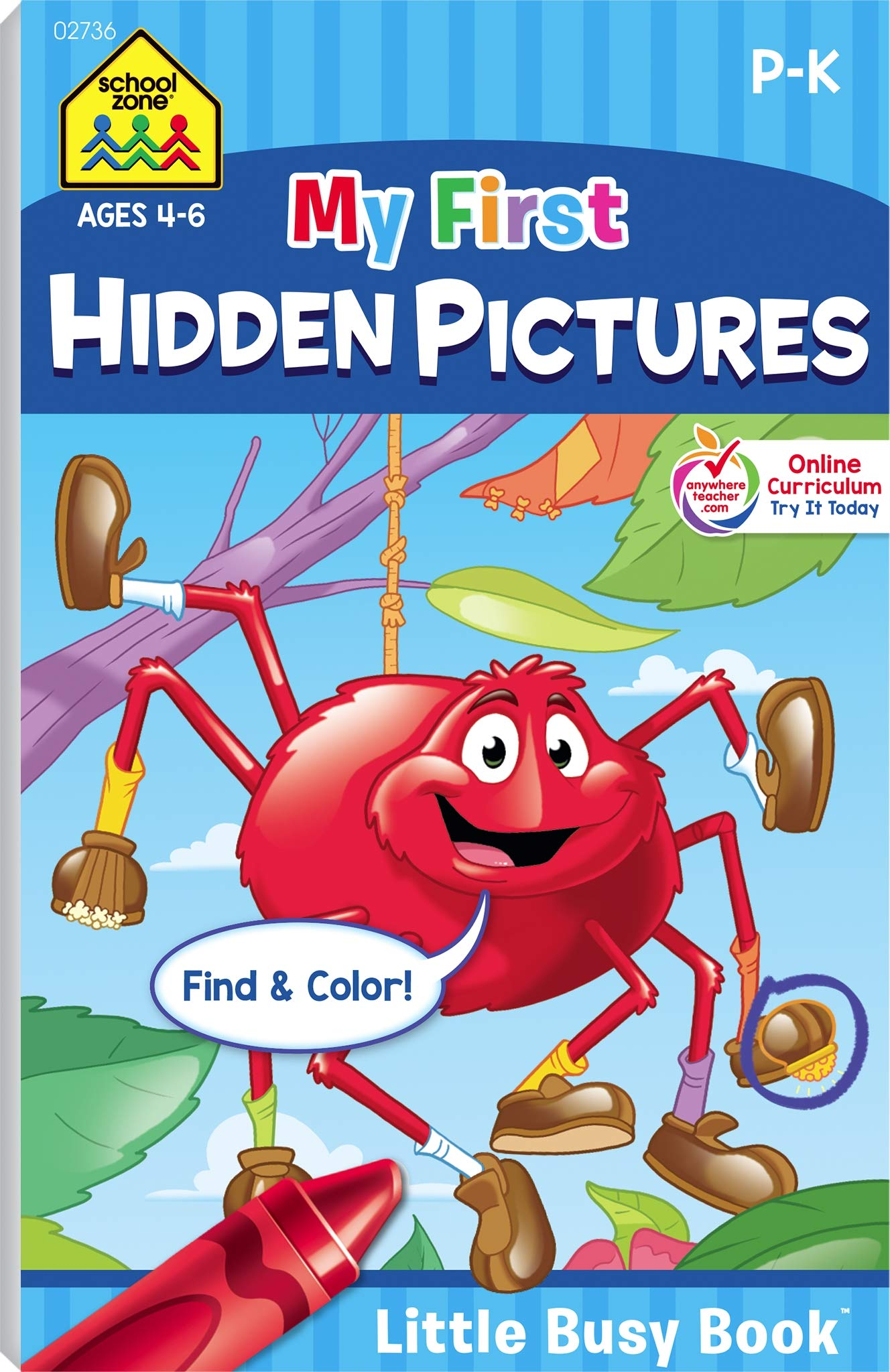 School Zone My First Hidden Pictures Workbook Ages 4 To 6 Preschool To Kindergarten Activity Pad Search Find Picture Puzzles Coloring And More School Zone Little Busy Book Series
