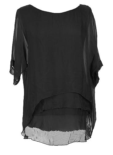 Ladies Womens Italian Lagenlook Short Sleeve Frill Frayed Hem Silk Tunic Top Blouse One Size
