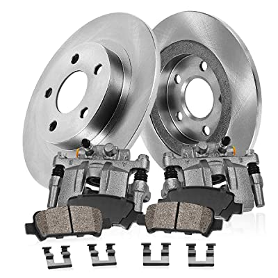 CCK02623 [2] REAR Original Remanufactured Calipers + [2] OE Rotors + [4] Low Dust Ceramic Brake Pads: Automotive